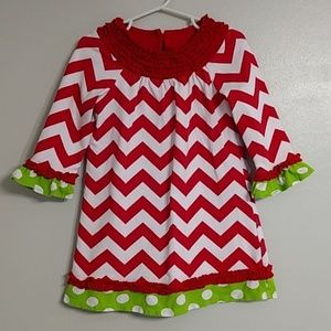Rare Editions Chevron Green Dot Christmas Dress 3T